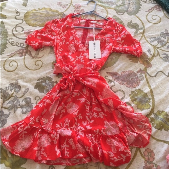 f11a08babccb Dresses | White Fox Serena Mini Wrap Dress Red Print | Poshmark
